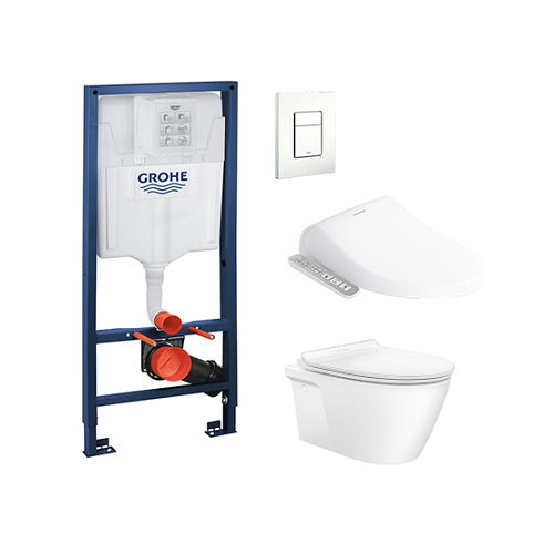 Acacia SupaSleek CL31197 Wall Hung WC+Grohe Concealed Cistern+Grohe flush plates+Pristine E Bidet Promo