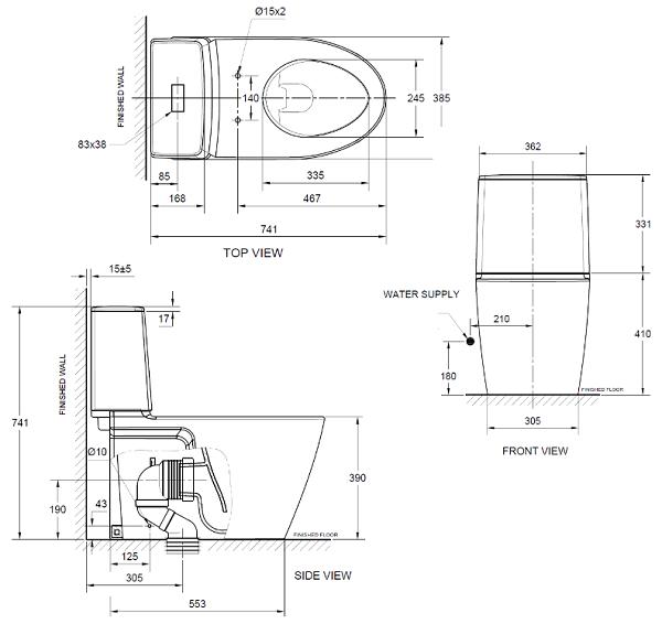 Acacia Supasleek-Close Coupled WC CL23075 Specifiaction
