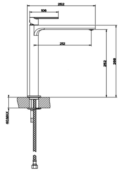 Gessi Emporio Manzoni High-rise basin mixer GES-38609-CHR Specification 2