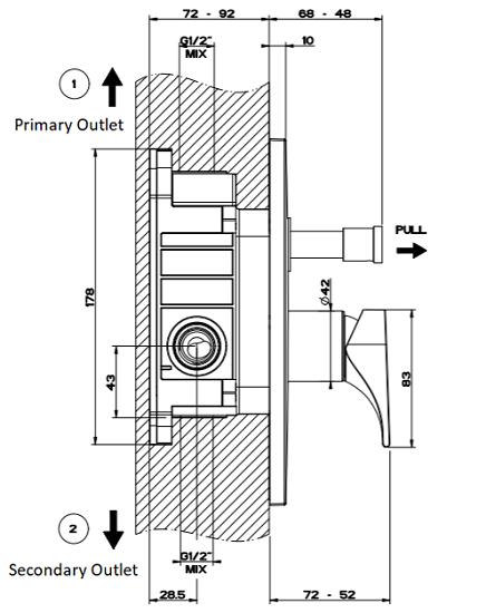 Gessi Emporio Solferino Concealed Bath Mixer GES-49079-CHR Specification 3