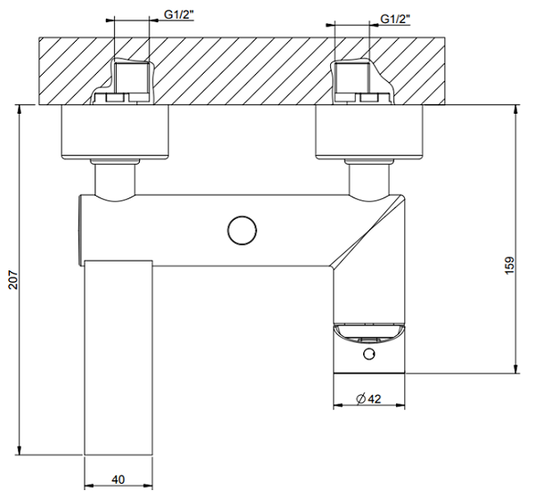 Gessi Manzoni Exposed Bath Mixer GES-38613-CHR Specification 2