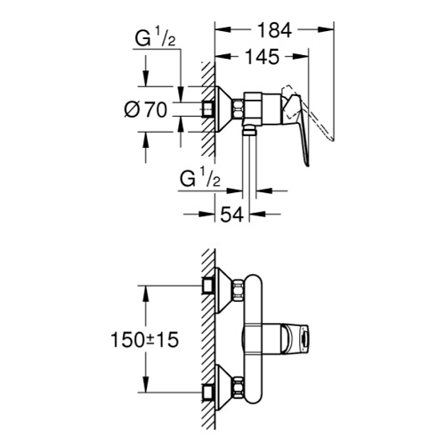 Grohe 23634000 BauLoop Single-lever Shower Mixer Specification