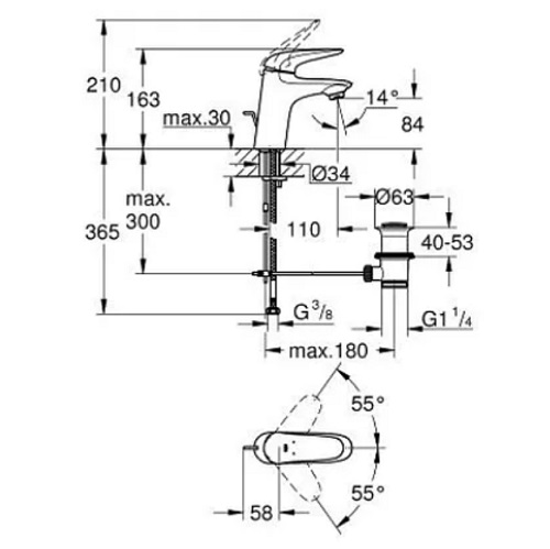 Grohe 23707003 Eurostyle Basin Mixer S-size Specification