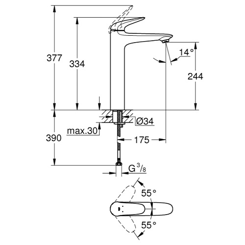 Grohe-23719003 Eurostyle SIngle-Lever Basin Mixer XL-size Specification