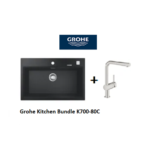 Grohe Composite Kitchen Sink K700-80C with Minta L-spout Mixer
