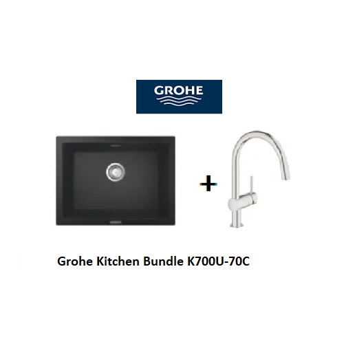 Grohe Composite Kitchen Sink K700U-70C with Minta C-spout Mixer