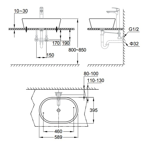 Grohe Eurocosmo 39122001 Vessel60 Basin Specification