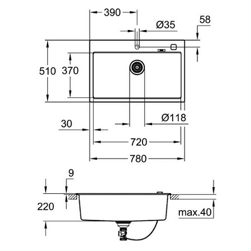 Grohe K700-80C Composite Kitchen sink-31652AP0 Specification DRW