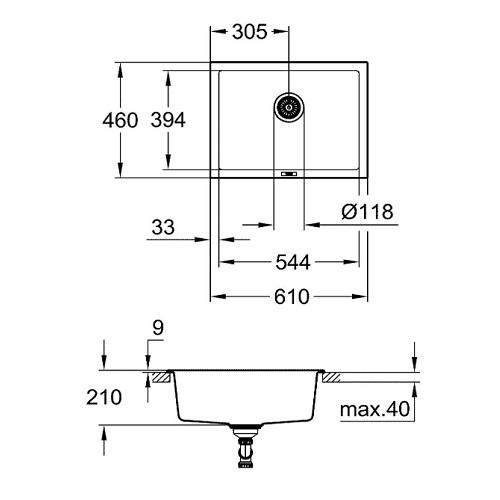 Grohe K700U-70C Composite Kitchen sink-31655AP0 Specification