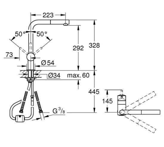 Grohe Minta 30274DC0 L-Spout Kitchen Sink Mixer Specification