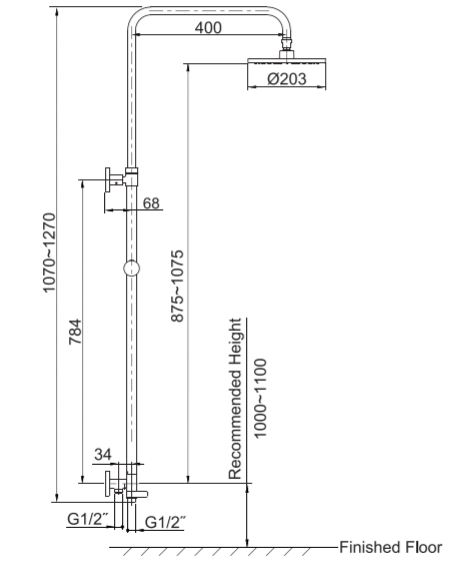 Kohler K-45352T-C9E2-CP July 2 way Shower Column Specification 1