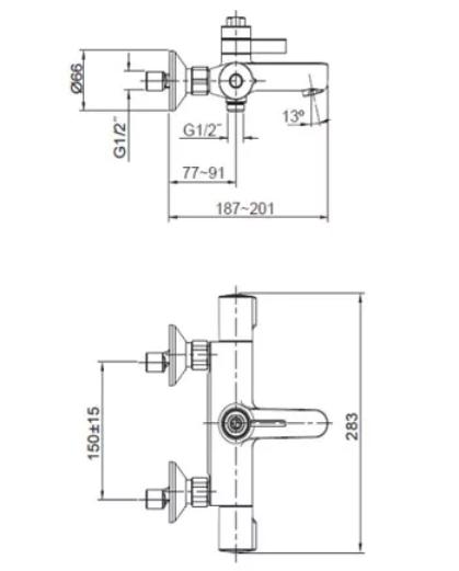 Kohler K-99742T-C9E2-CP July Bath-Shower Column Specification 2