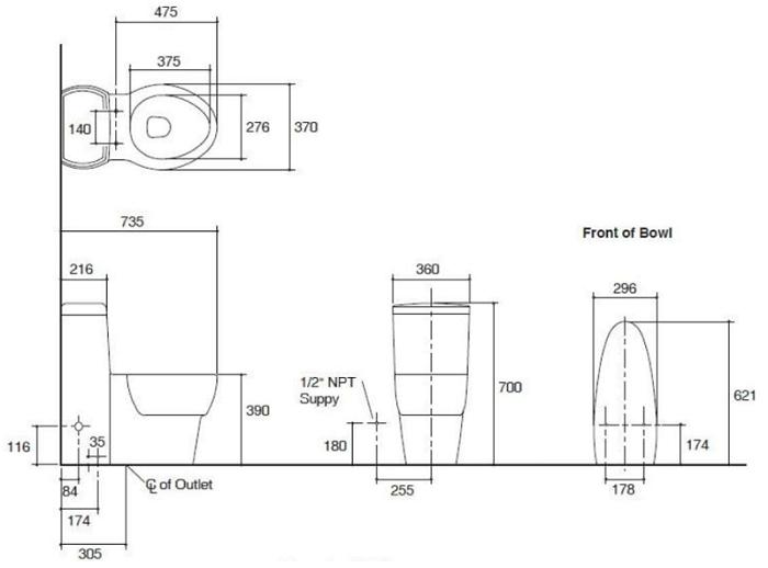Kohler Ove Skirted One-piece Toilet K-45382R-NS-0 Specification