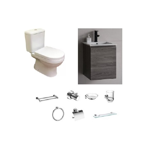 Baron V800 Two Piece Toilet Bowl + A106 Basin Cabinet + 7-piece Accessories