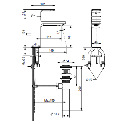 Acacia Evolution Basin Mixer FFAS1301 Specification Drawing