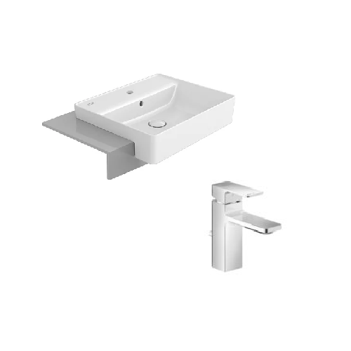 Acacia SupaSleek Semi-recessed basin with Acacia Basin Mixer