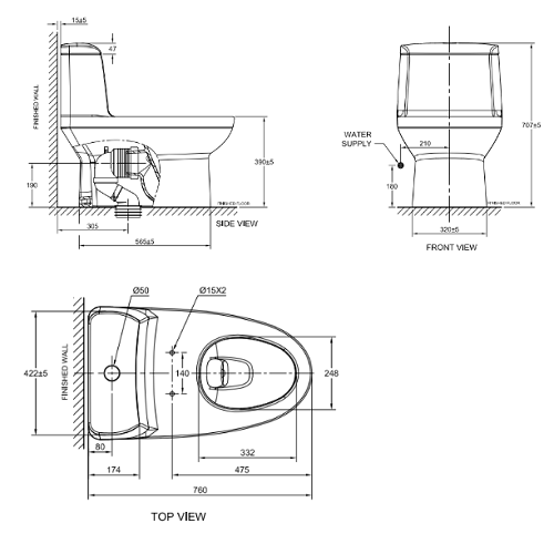 American Standard Milano CL20415 One piece Toilet Specification