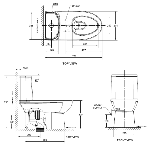 American Standard Neo Modern CL25315 One piece Toilet Specification