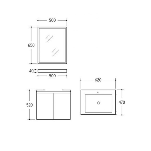 Zaffiro Basin with cabinet PHT-8260A-60 Specification drawing