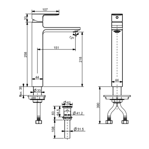 Acacia Evolution Extended Basin Mixer Specification drwaing FFAS1302