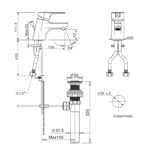 American Standard Concept Round FFAS1401 Basin mixer Specification DRW