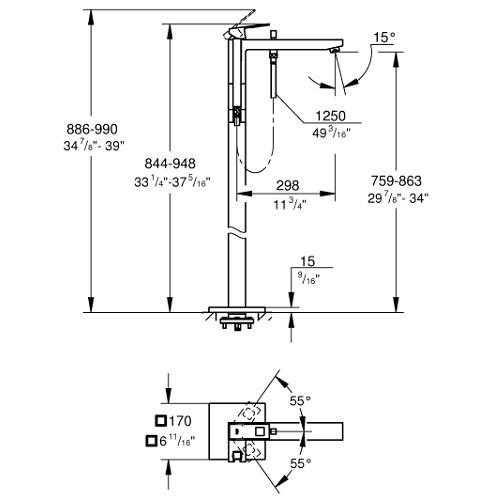 Eurocube Single-lever bath mixer floor mounted 23672001 Specification DRW