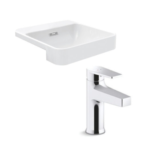 Kohler Forefront square semi-Recessed Lavatory with Taut Basin Mixer Bundle