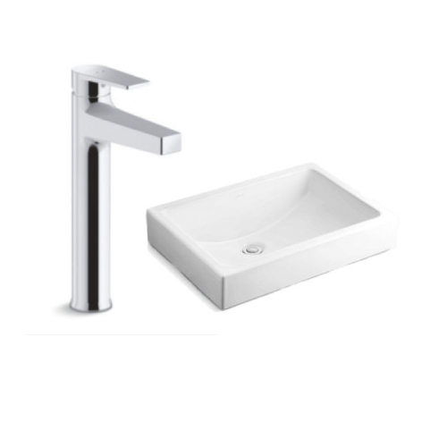 Kohler Ladena Vessel Basin with Taut Tall Mixer
