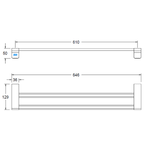 American standard Acacia FFAS1394-908500BC0 Double Towel Bar Specification DRW