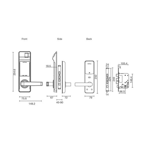 Hafele EL7700 digital door lock drw