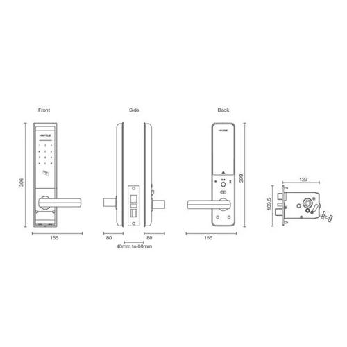 Hafele EL8000 digital door lock drw