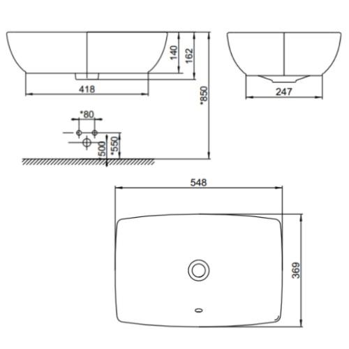 Milano CCASF650-1000410F0 Vessel Wash Basin DRW