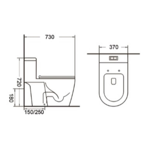 Tiara WC-530 One Piece Toilet Bowl Specification DRW