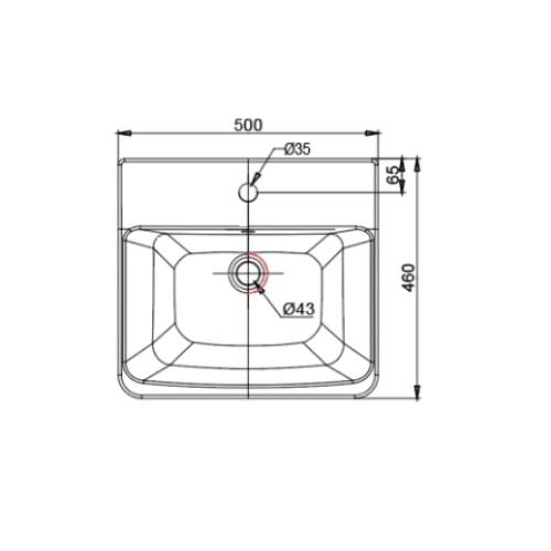 Acacia Evolution CCASF519-1010411F0 Semi-Countertop Basin DRW 1