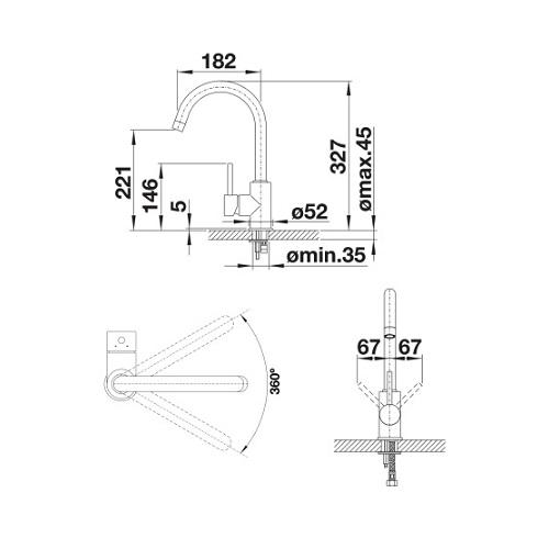 Blanco Mida C spout Sink mixer DRW