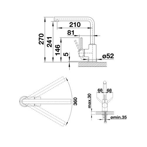 Blanco Mila L spout sink mixer DRW