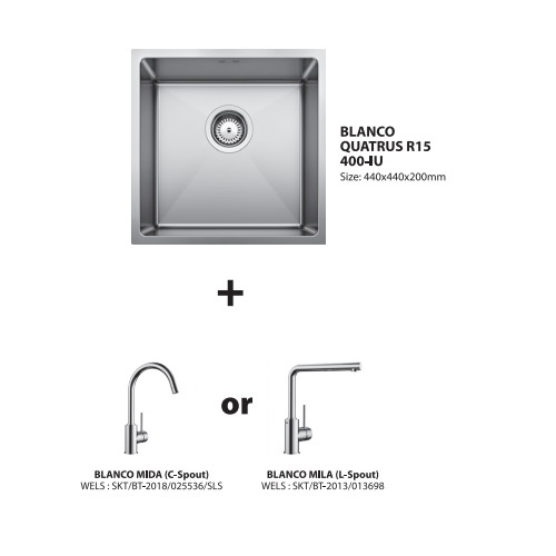 Blanco Quatrus 400-IU with Sink mixer Bundle