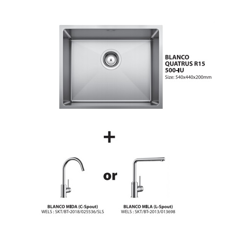 Blanco Quatrus 500-IU with Sink mixer Bundle