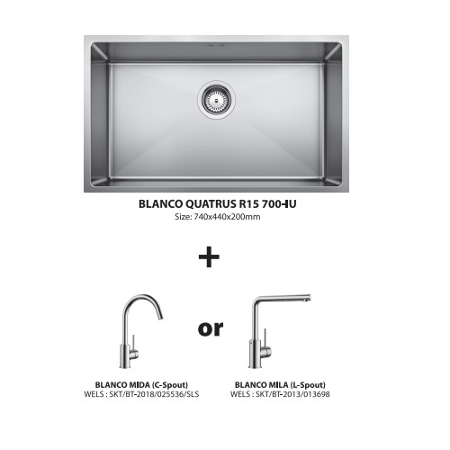 Blanco Quatrus R15 700-IU with Sink mixer Bundle