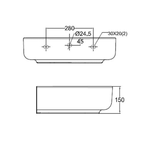 Concept D shape CL0553I-6DACTLWtf wall hung basin DRW 2