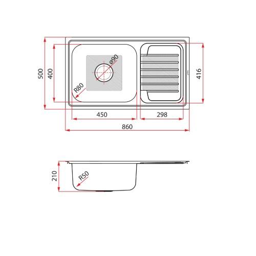 Rubine JUX 811 Kitchen sink with Drainer DRW 1