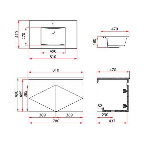 Rubine RBF-1384D2 (I) Basin Cabinet DRW