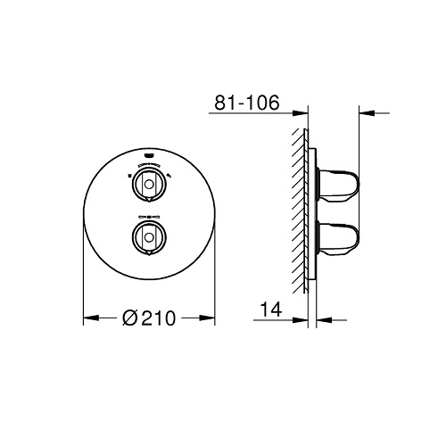 Grohe 19985000 Grohtherm 1000 thermostat DRW