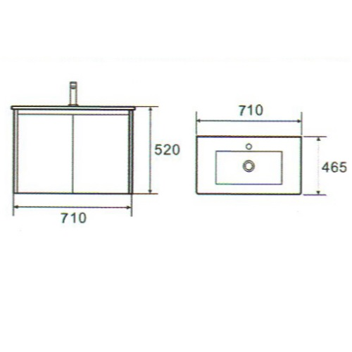 Baron A107 Basin Cabinet Dimension
