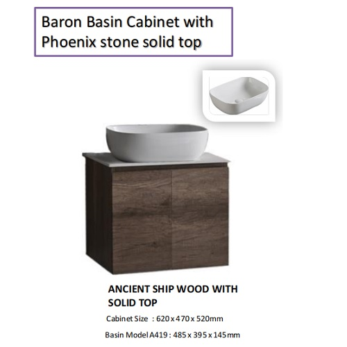 Baron B84 basin cabinet with phoenix solid top